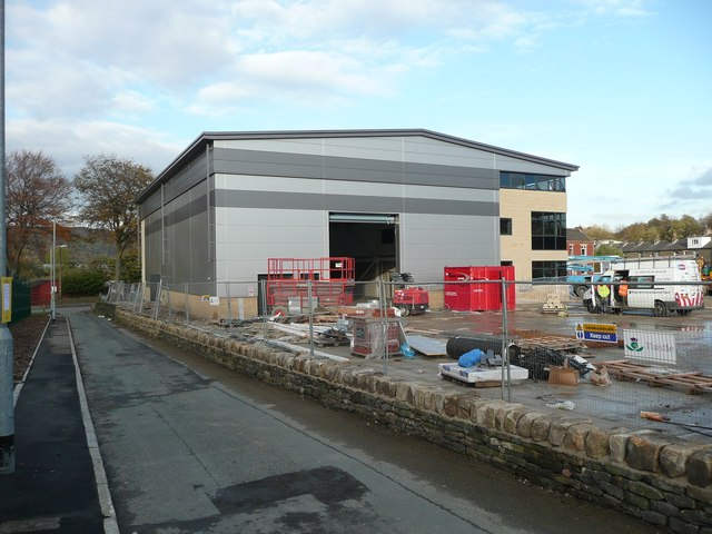 New building on the site of the Gannex mill, Elland