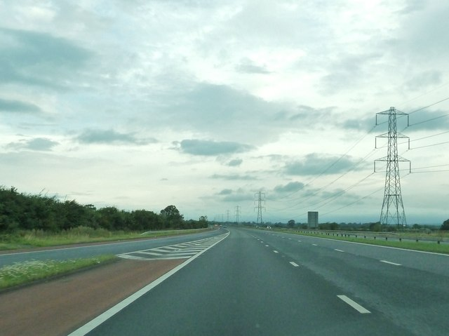 Slip road joining the M6, at junction 43 northbound