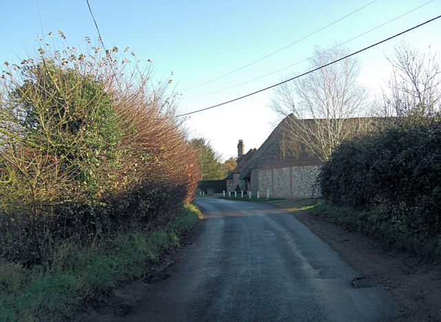 Path Hill lane passes Querns Cottage