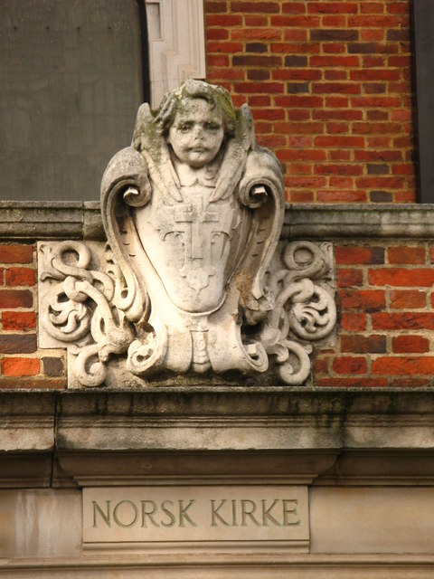 Decoration over the south door of St. Olav's Church, Albion Street, SE16