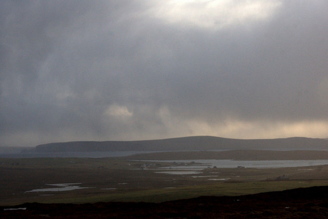 View south towards Fetlar from the south end of the Valla Field ridge