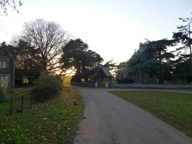 Sun setting on Wolferton church, Norfolk