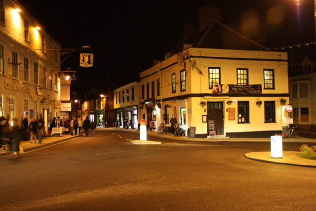 Bungay Old Market Place and Earsham Street at night