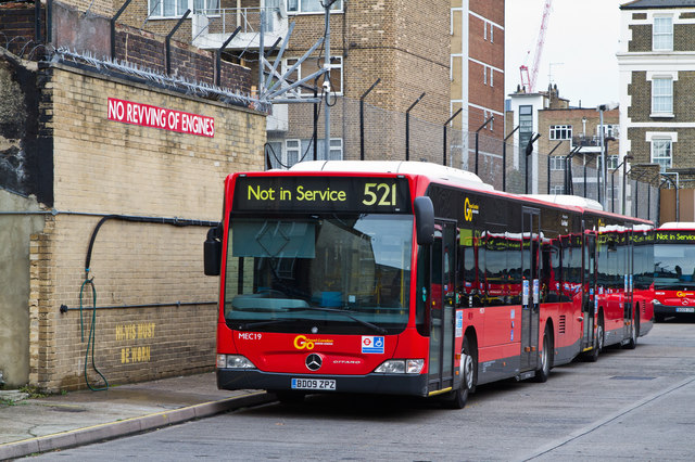 Waterloo bus garage martin addison geograph britain and ireland - Mercedes benz garage london ...