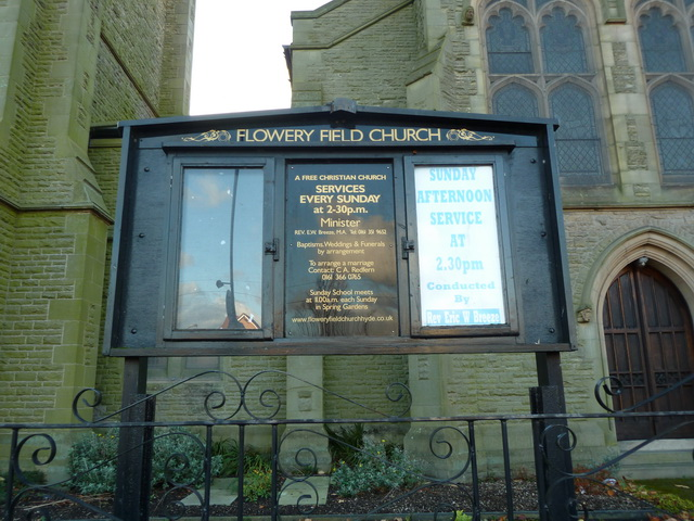 Flowery Field Church, Hyde, Noticeboard