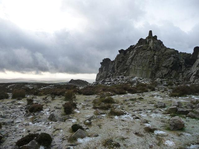 Manstone Rock on Stiperstones in winter