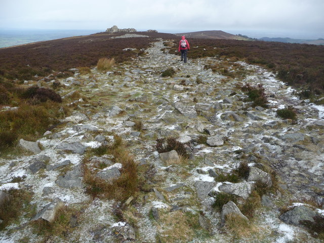 Path on Stiperstones approaching the Devil's Chair in December