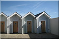 SX9372 : Three of the five Shaldon Beach Huts, Strand by Robin Stott