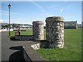 SX9272 : Entrance pillars, King George's Field, Shaldon by Robin Stott