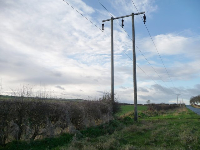 Pylons on the south side of Burton Fleming Road
