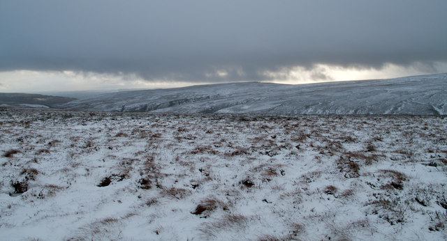 Snowed heather moor south of Harnisha Hill
