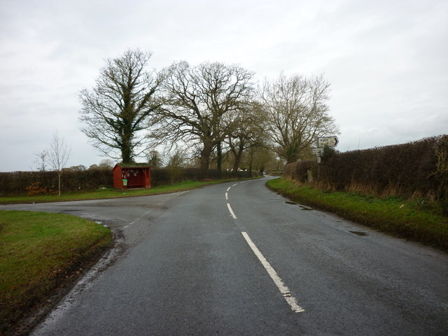 A bus shelter on the B5395