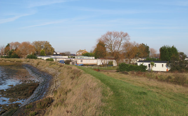 River defence, embankment, caravan park
