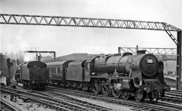 Rebuilt 'Patriot' running through Crewe Station on an Up Special