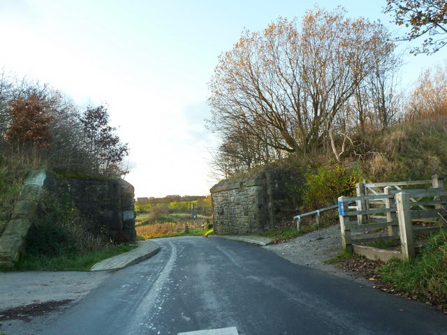 Former railway bridge on Alt Hill Lane west of Alt Hill