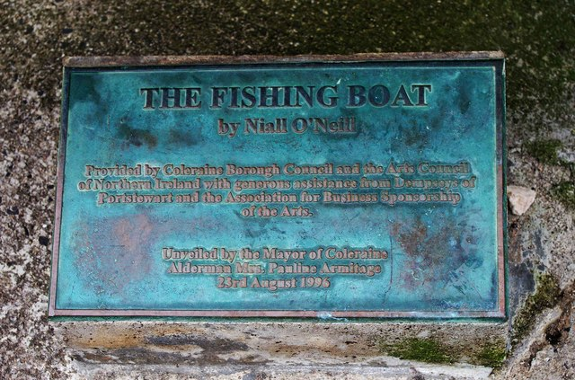 The Fishing Boat sculpture (3) - plaque, Harbour Road, Portstewart