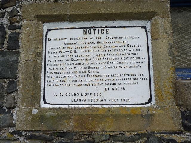 Public Right of Way Notice, Llanfairfechan