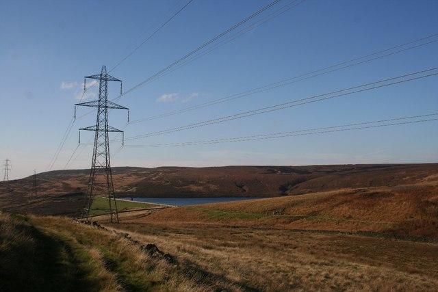 Pylons at Higher Swineshaw Reservoir