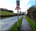 ST2793 : Snow warning traffic sign, Henllys Way, Cwmbran by John Grayson