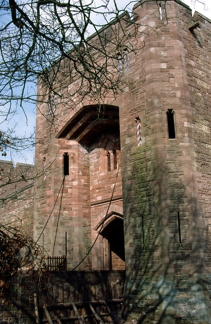 Drawbridge and main entrance to Peckforton Castle