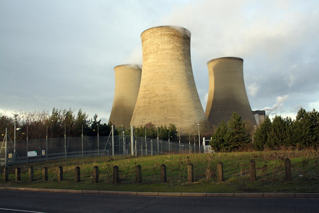 Security fence and cooling towers of Didcot Power Station