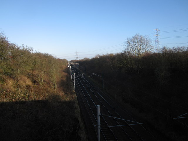Mainline railway from Woodhouse Bridge, Gawsworth