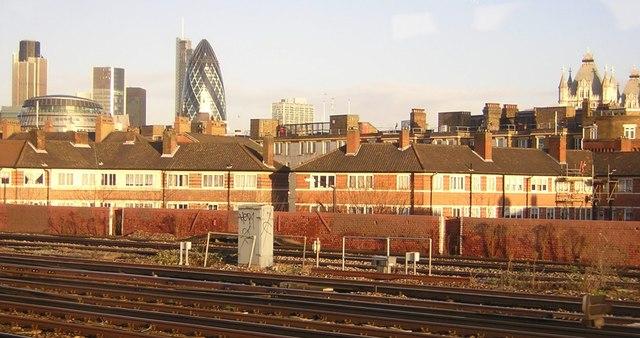 Towers of London, seen over the Arnold Estate in Bermondsey