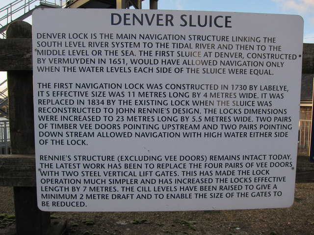 Denver Sluice information board