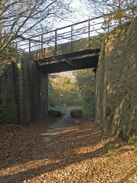 National Cycle Route 4 passing beneath railway bridge, Cefn Cribwr