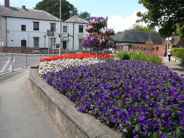 Colourful flower border at the junction of Potter Street and Watson Road, Worksop