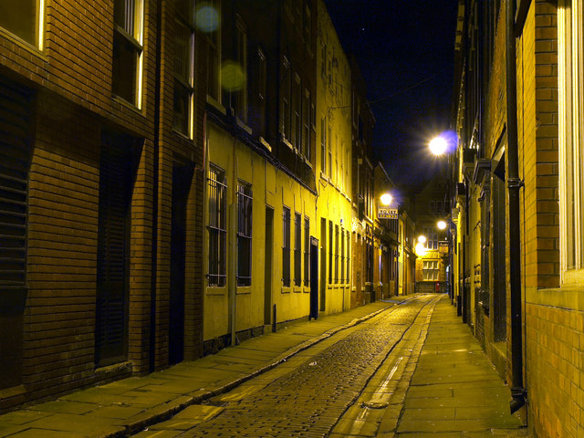 Bishop Lane in Hull at Night
