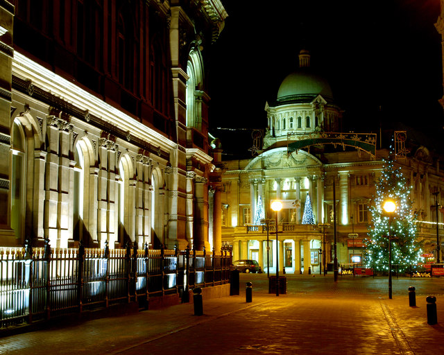 Hull Dock Offices and City Hall at Christmas Time