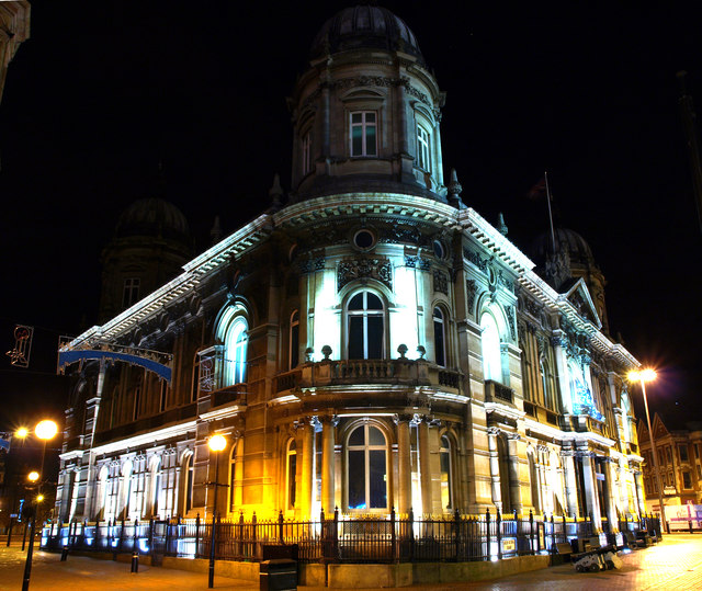 Hull Dock Offices at Night Time