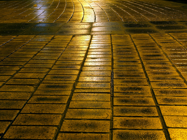 Wet Pavers in Queen's Gardens in Hull