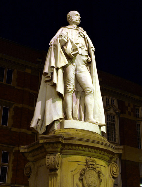Statue of Charles Henry Wilson at Night