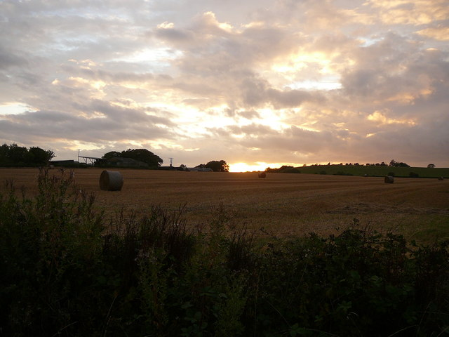 Harvested field by Church Farm, Oxhill at sunset
