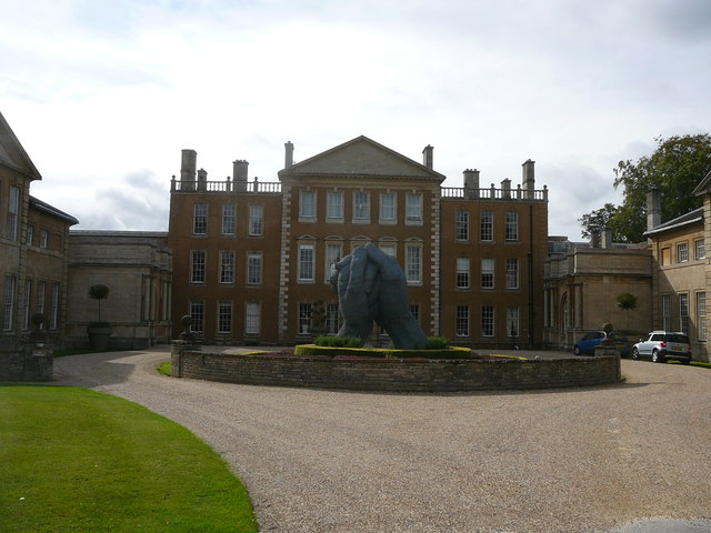 Aynhoe Park House and hand sculpture