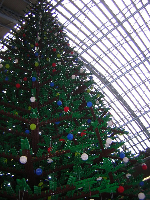 St Pancras station, December 2011: Lego Christmas tree