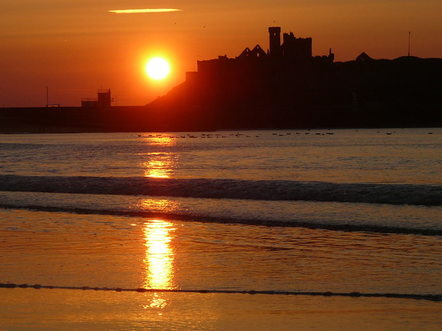 Peel Castle at sunset