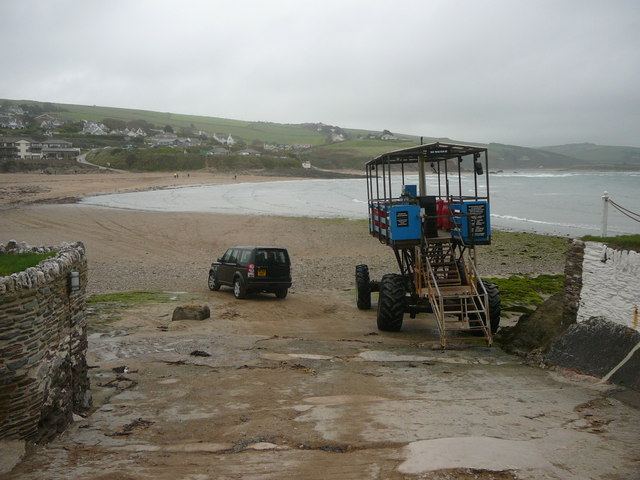 On Burgh Island slipway and tractor ferry