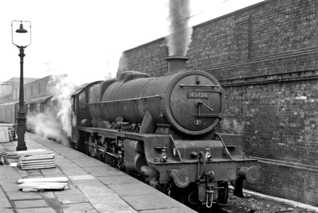 Stanier 'Jubilee' 4-6-0 at Crewe on Up parcels train