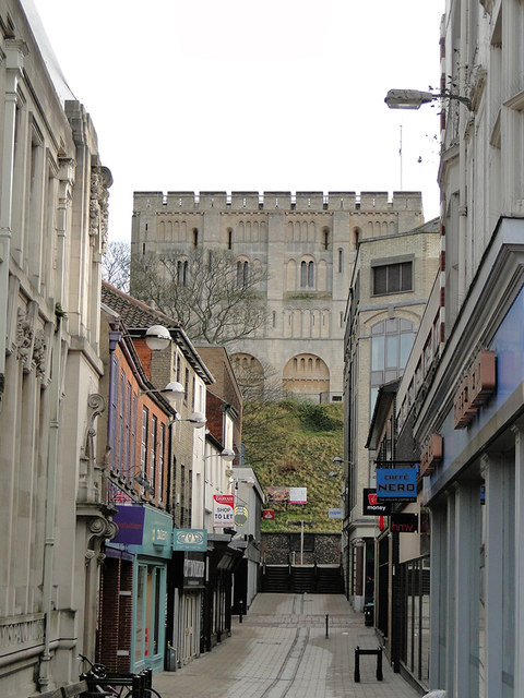 Norwich Castle Museum from and through Davey Place