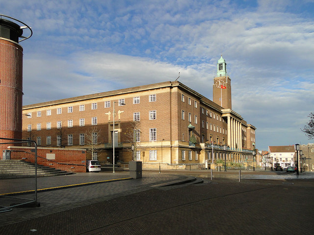 City Hall, Norwich, from outside The Forum