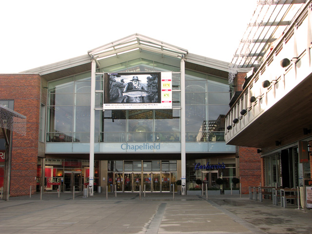 Big screen above the entrance to Chapelfield shopping centre, Norwich