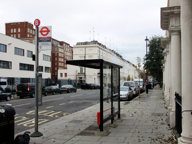 Bus stop in Claverton Street, Pimlico