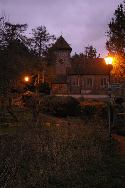 St Giles the Abbot, Farnborough, just after a winter sunset