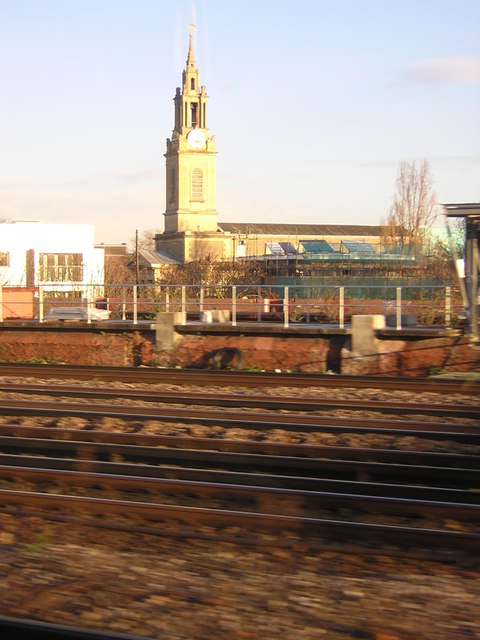 St James, Bermondsey, from a London-bound train