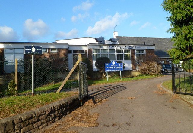 Southern entrance to Our Lady and Saint Michael's RC primary school, Abergavenny