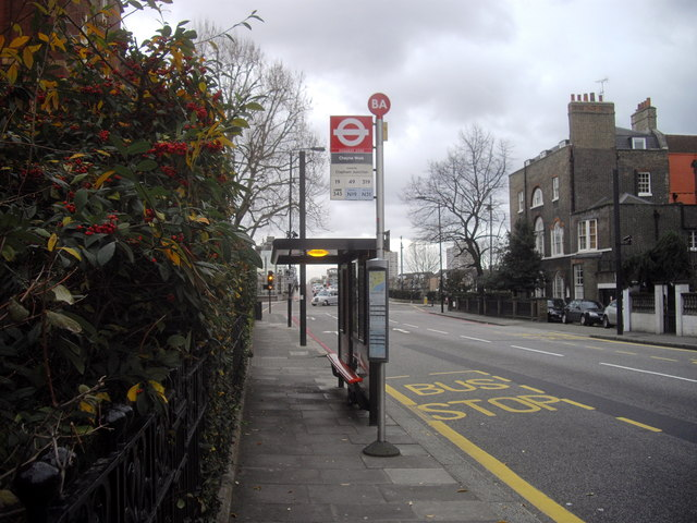 Bus stop in Beaufort Street, Chelsea