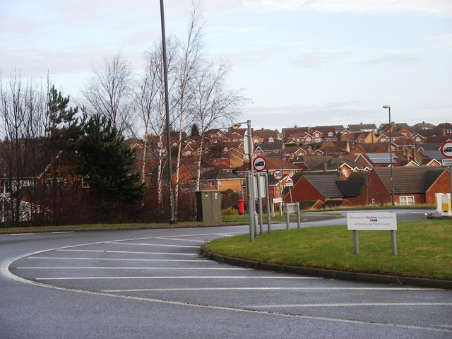 Roundabout and houses at Barlborough Links